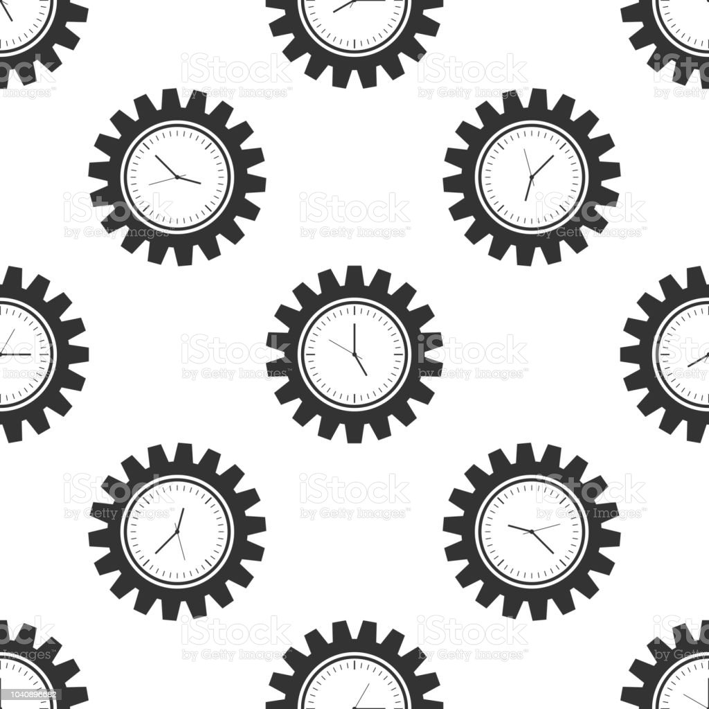 Clock Gear Icon Seamless Pattern On White Background Time