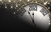 Clock hands showing 2021 year instead of 12 o'clock. Creative dark clock with gold confetti and shiny stars on transparent background. Vector holiday illustration.