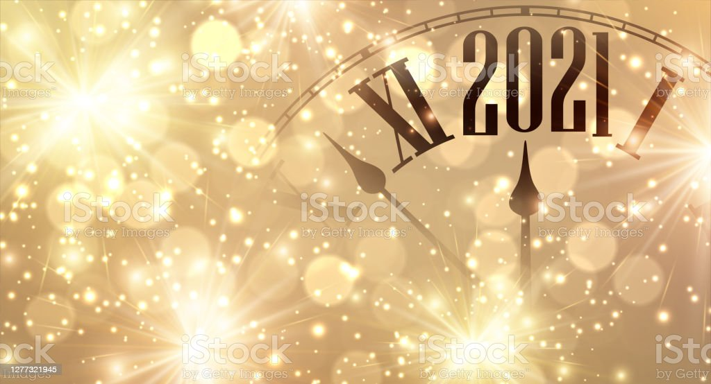 Clock hands showing few minutes to 2021 year. - Royalty-free 2021 arte vetorial
