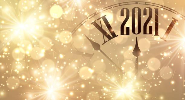 2021 년까지 몇 분을 보여주는 시계 손. - new year stock illustrations