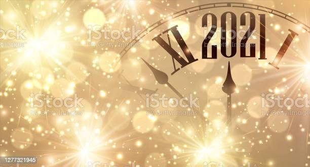 Clock Hands Showing Few Minutes To 2021 Year - Arte vetorial de stock e mais imagens de 2021