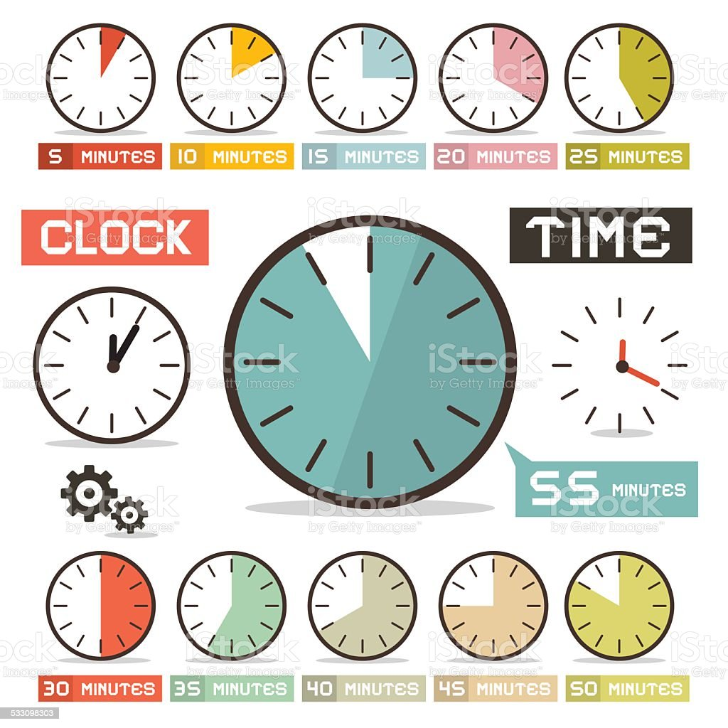 Clock - Hours Vector Set in Flat Design Style vector art illustration