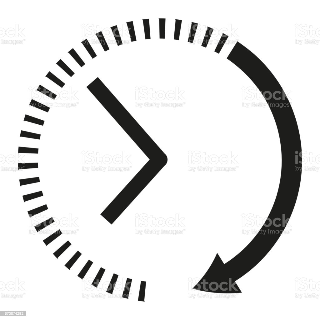 Clock icon. Black and white clock arrows vector art illustration