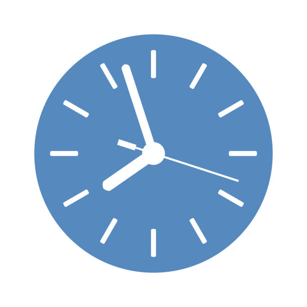 Clock icon in blue circle Clock icon in blue circle clock stock illustrations