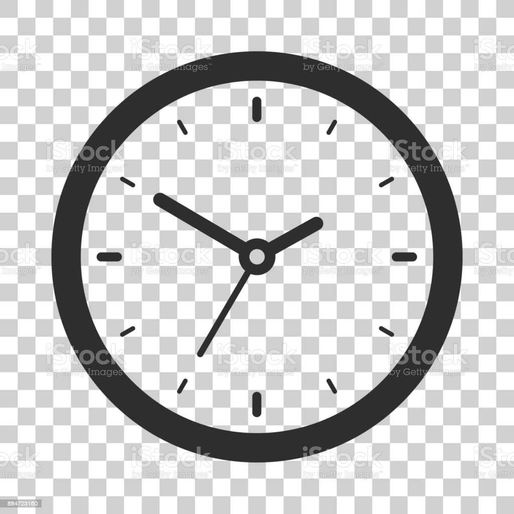 Clock icon in flat style, black timer on transparent background, business watch. Vector design element for you project vector art illustration