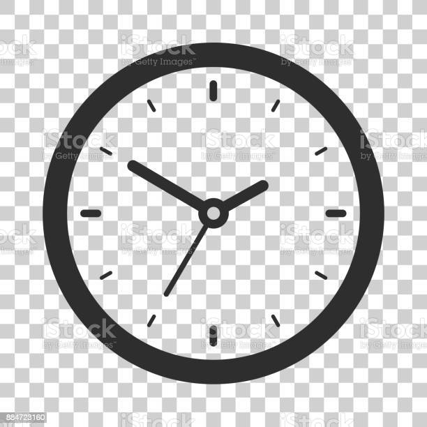 Clock icon in flat style, black timer on transparent background, business watch. Vector design element for you project