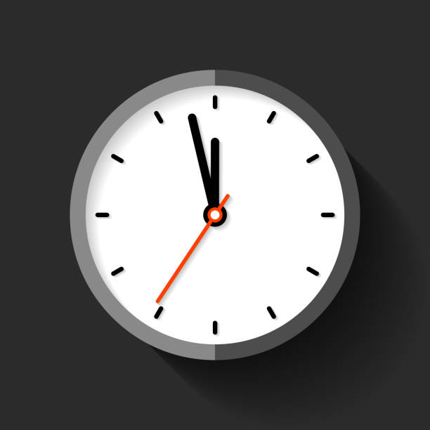 clock icon in flat style, round timer on black background. five minutes to twelve. simple watch. vector design element for you business projects - clock stock illustrations