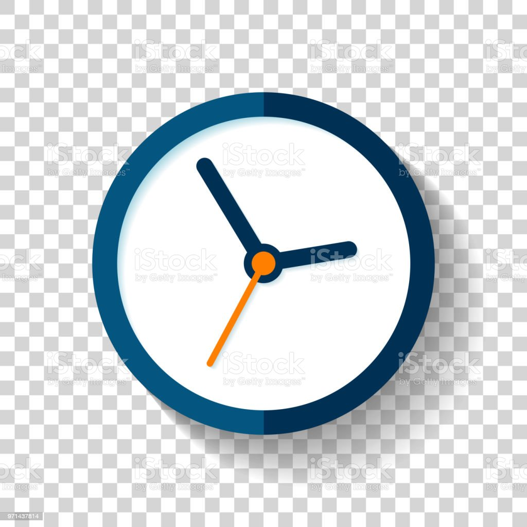 Clock Icon In Flat Style Round Timer On On Transparent