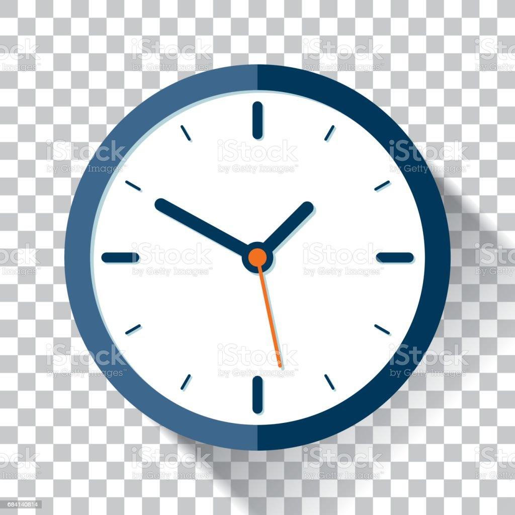 Icône de l'horloge dans le style plat, minuterie sur un fond transparent. Élément de design vectoriel - clipart vectoriel de Bleu libre de droits