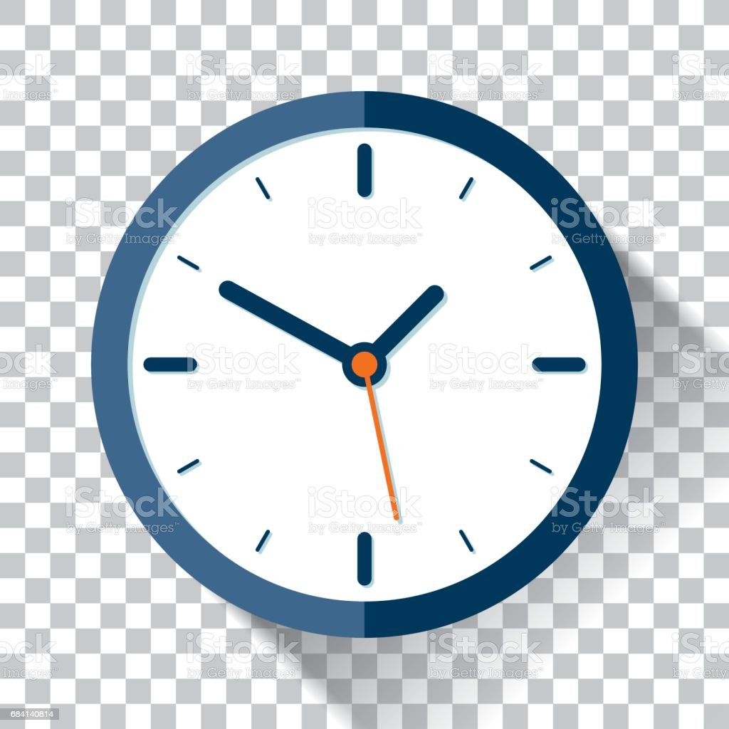 Clock icon in flat style, timer on a transparent background. Vector design element vector art illustration