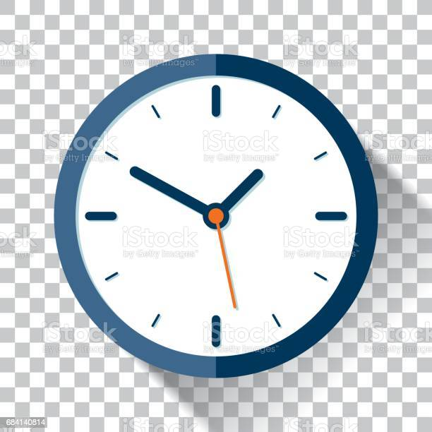 Clock icon in flat style, timer on a transparent background. Vector design element