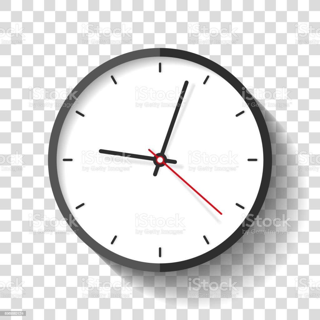 Icône de l'horloge dans le style plat, minuterie sur fond transparent. Montre de l'entreprise. Élément de design vectoriel pour vous le projet - clipart vectoriel de Affaires libre de droits