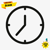 Clock icon in trendy flat style isolated on background. Clock icon page symbol for your web site design Clock icon logo, app, UI. Clock icon Vector illustration, EPS10.