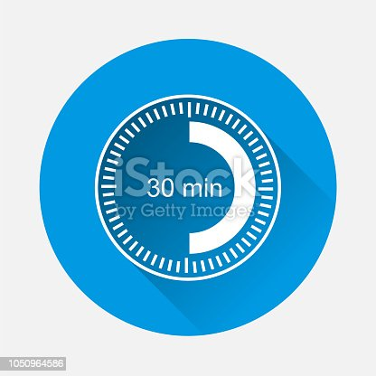Clock icon indicating  time interval of 30 minute on blue background. Flat image thirty minutes with long shadow.  Layers grouped for easy editing illustration. For your design.