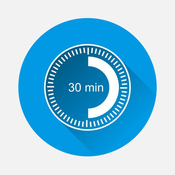 bildbanksillustrationer, clip art samt tecknat material och ikoner med klockikonen anger tidsintervall på 30 minuter på blå bakgrund. platt bild trettio minuter med långa skugga.  lager grupperade för enkel redigering illustration. för din design. - nummer 30