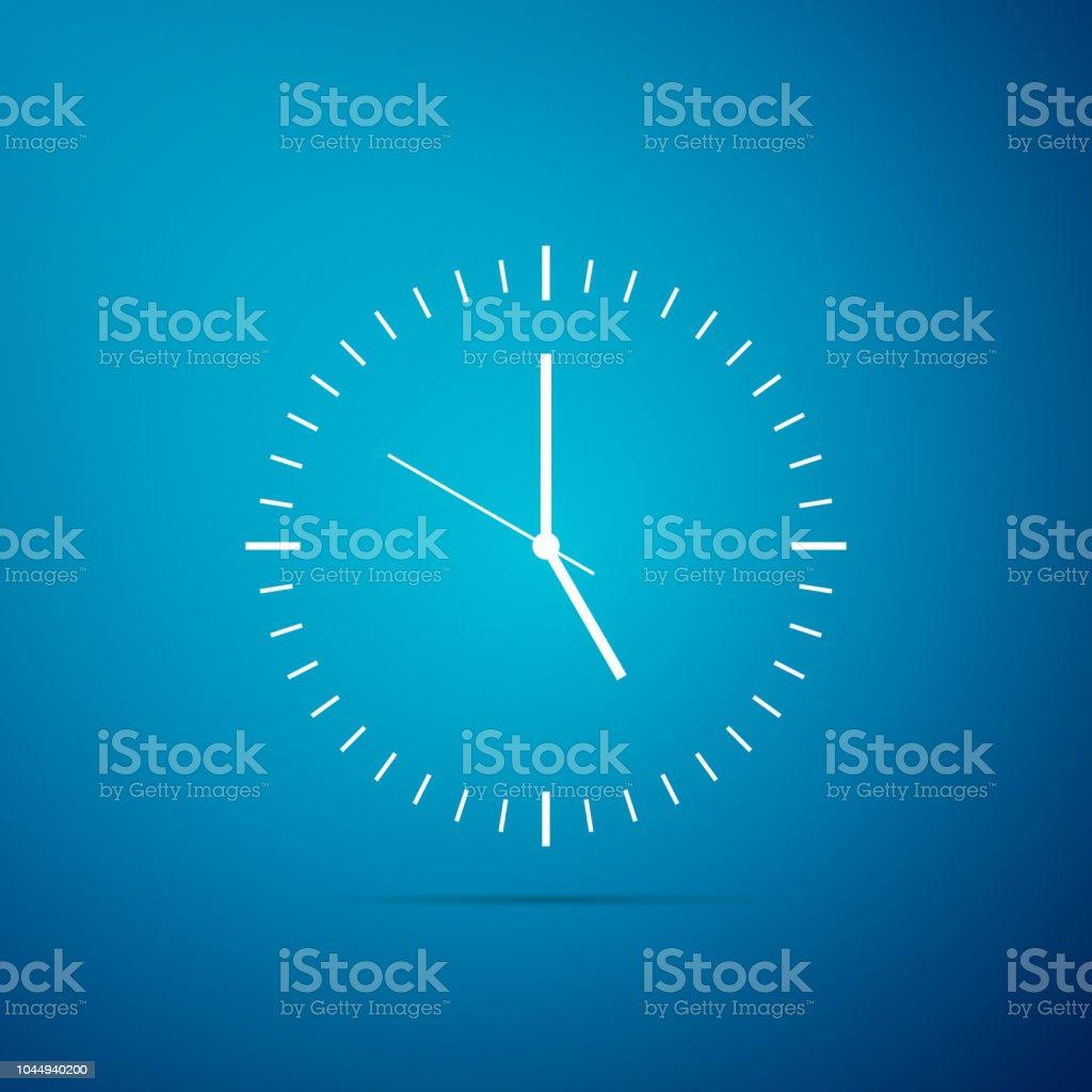 Icône de l'horloge isolé sur fond bleu. Icône de temps. Design plat. Illustration vectorielle - clipart vectoriel de Affaires libre de droits