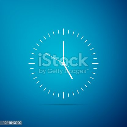 Clock icon isolated on blue background. Time icon. Flat design. Vector Illustration