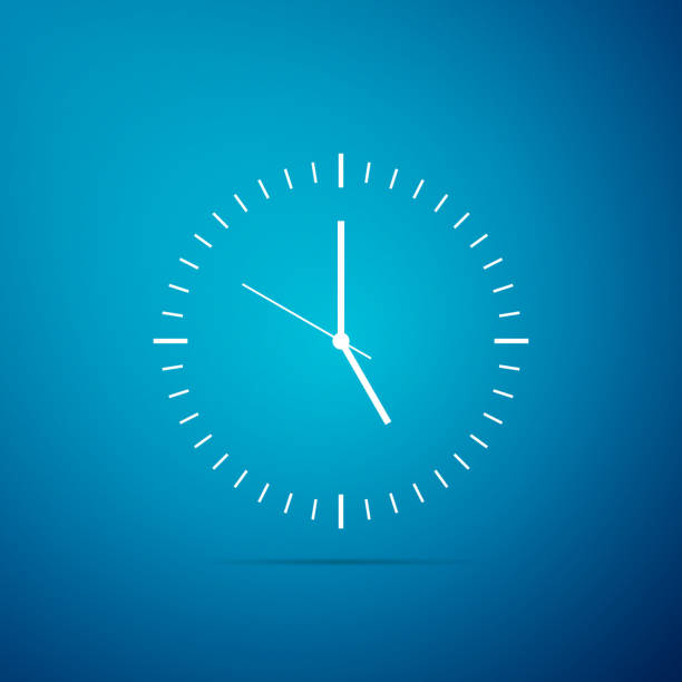 Clock icon isolated on blue background. Time icon. Flat design. Vector Illustration Clock icon isolated on blue background. Time icon. Flat design. Vector Illustration clock stock illustrations