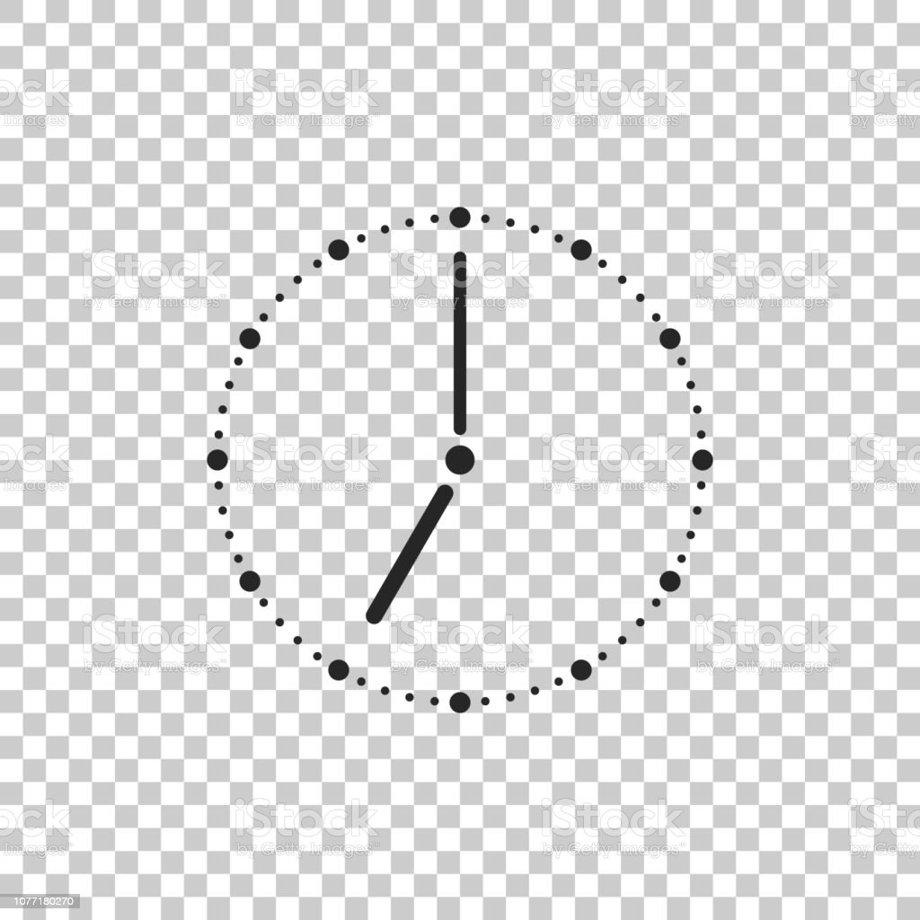 Clock Icon Isolated On Transparent Background Flat Design