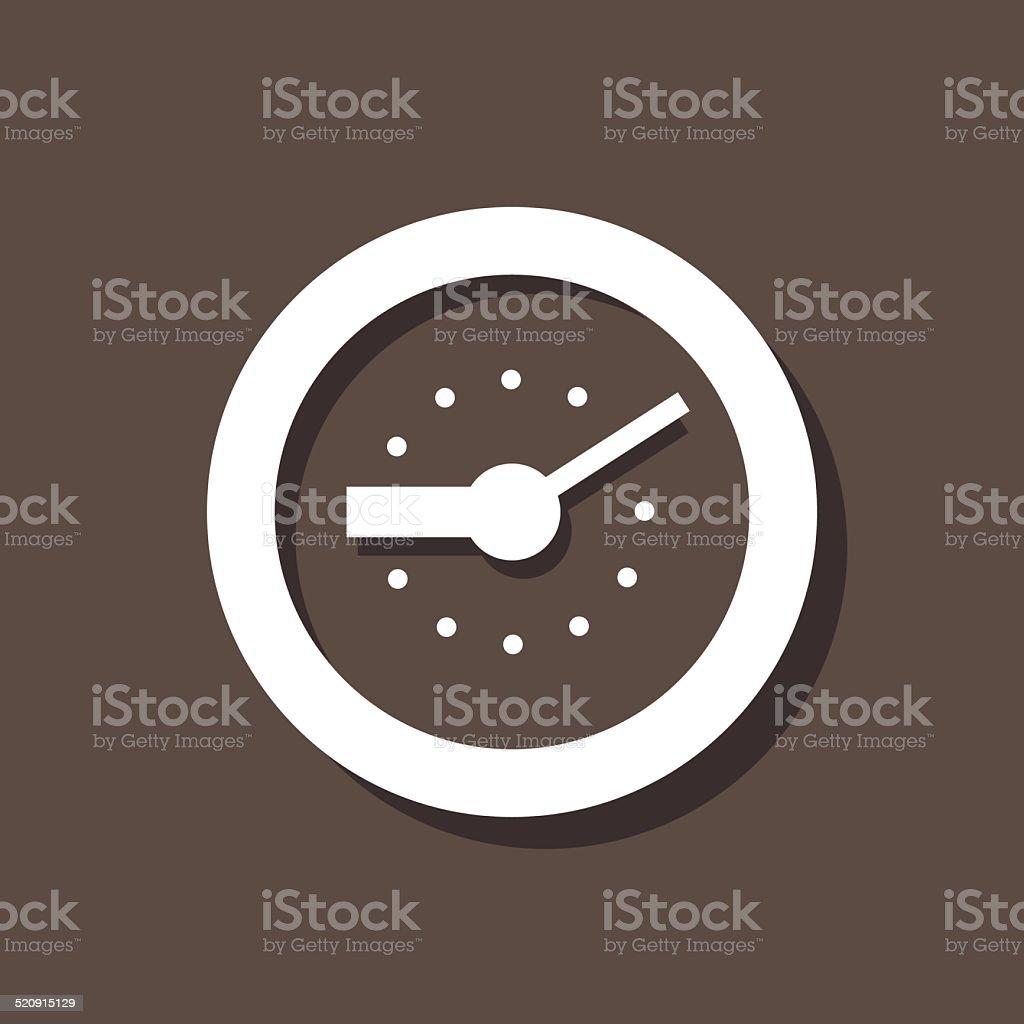Clock Icon On Dark Background vector art illustration