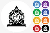 Clock Icon on Flat Color Circle Buttons