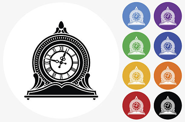 Clock Icon on Flat Color Circle Buttons vector art illustration