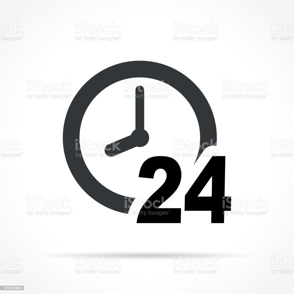 clock icon on white background vector art illustration