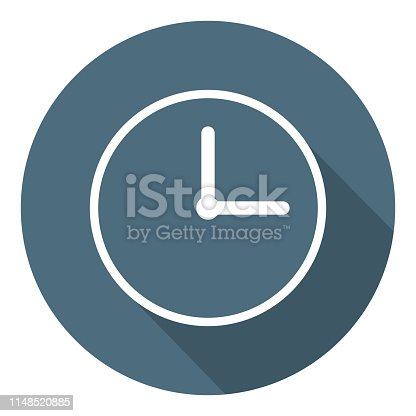 Clock Icon. Time Symbol. Outline Flat Style. Clean and modern vector illustration for design, web, app, infographic.