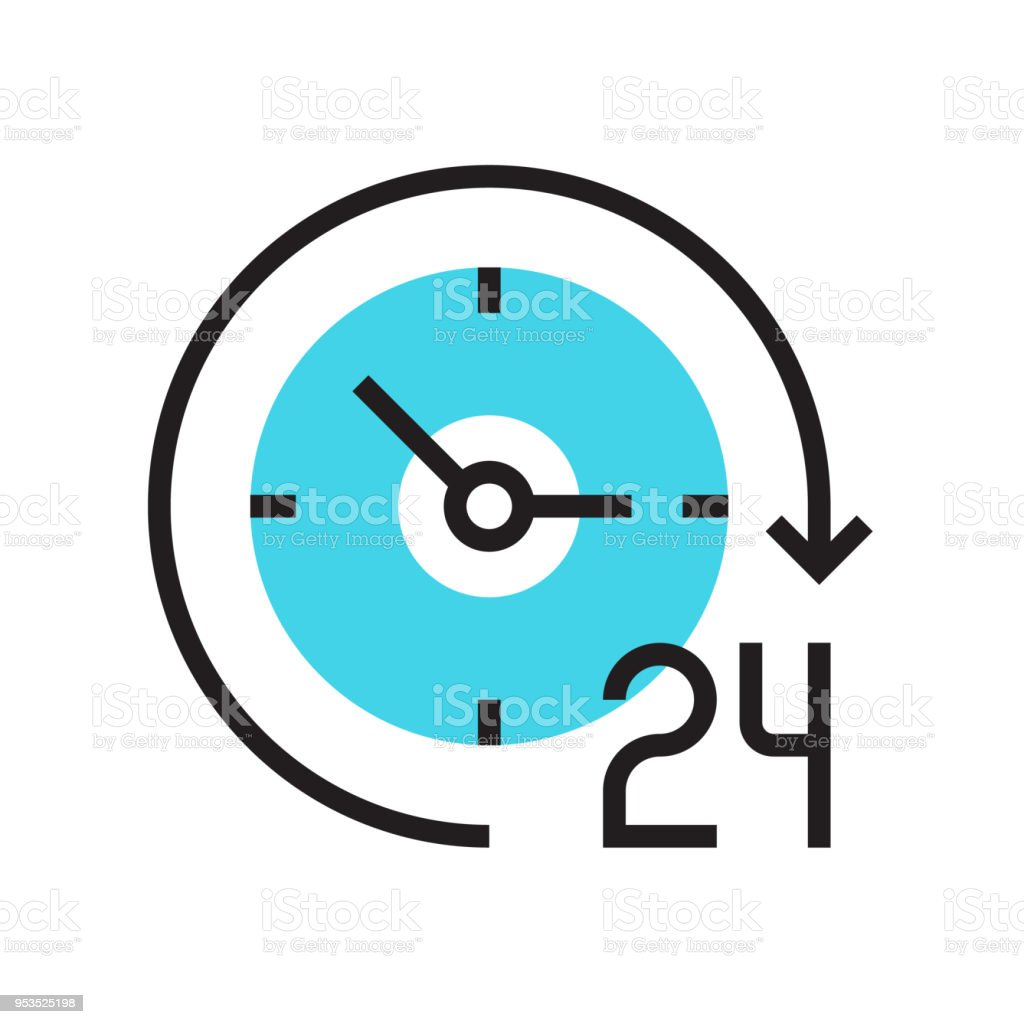 Clock Icon Time Vector 24 Working Hours Non Stop