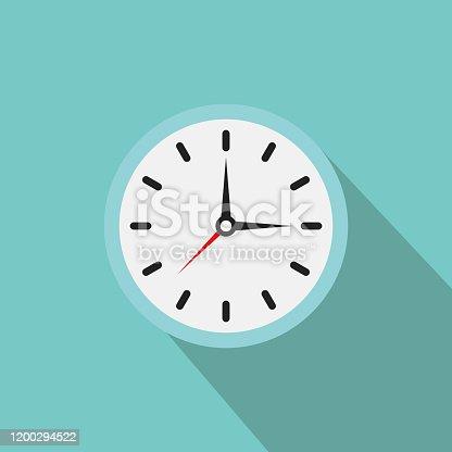 istock Clock icon. Vector clock illustration with shadow 1200294522