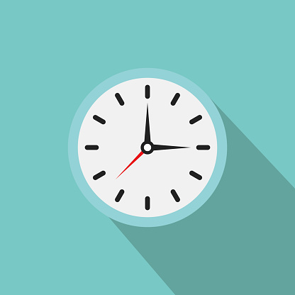 Clock icon. Vector clock illustration with shadow. Clock with Arrows showing the time.