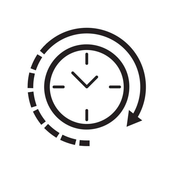 ilustrações, clipart, desenhos animados e ícones de ícone de relógio ilustração vetorial, eps10 - longo