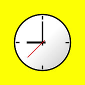 Clock icon, Vector illustration, flat design. Easy to use and edit. EPS10. Yellow background.