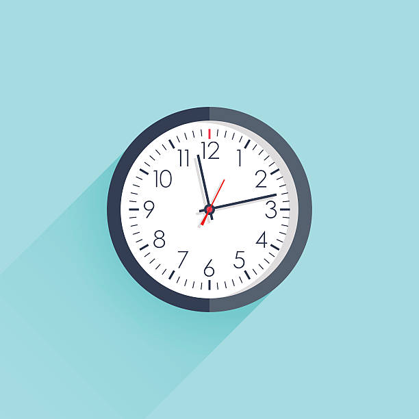 Clock icon vector illustration flat design with long shadow vector art illustration