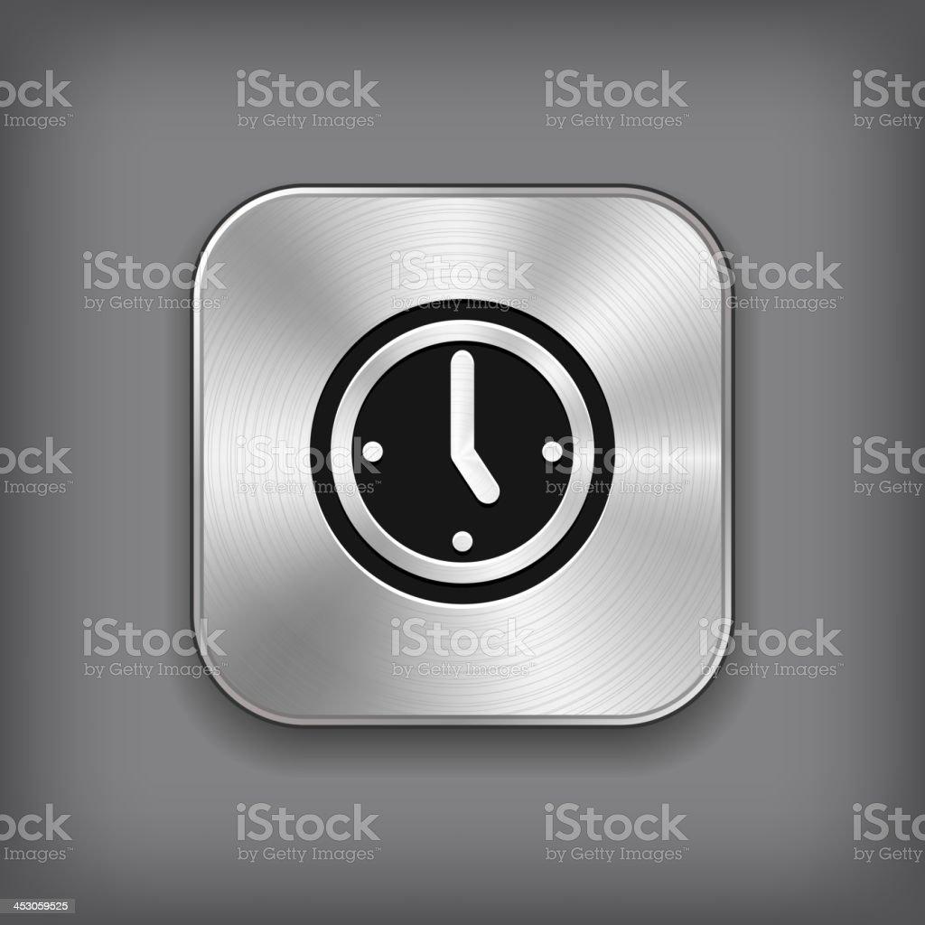 Clock icon - vector metal app button royalty-free stock vector art