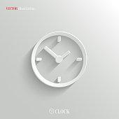 Clock icon - vector white app button