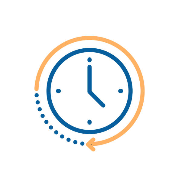 ilustrações, clipart, desenhos animados e ícones de ícone do pulso de disparo com forma circular do movimento com seta que indica a passagem do tempo. vector a ilustração para conceitos do tempo, progresso, prazo, entrega expressa, limite de tempo, urgência - esperar