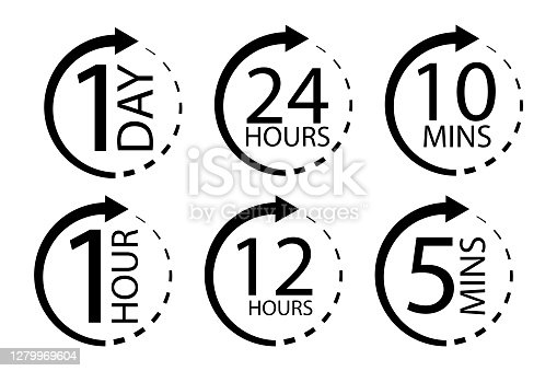 Clock icon with different times. Delivery or service symbol. Day, hour, minute of work. Vector illustration. Stock images.