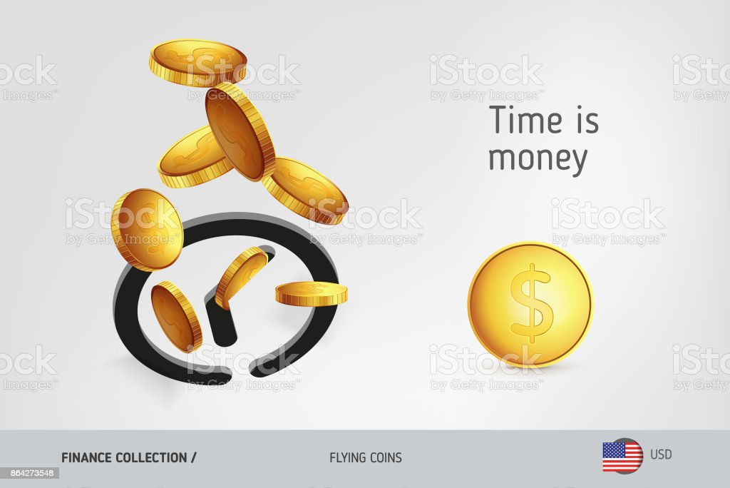 Clock icon with flying United States Dollar coins, finance concept. Vector illustration for print, websites, web design, mobile app, infographics. royalty-free clock icon with flying united states dollar coins finance concept vector illustration for print websites web design mobile app infographics stock vector art & more images of advertisement