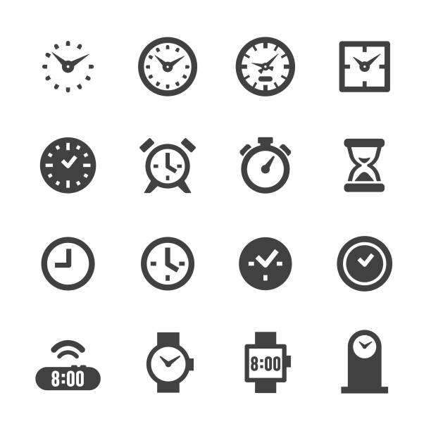 Clock Icons - Acme Series Clock, time, watch, equipment, clock stock illustrations