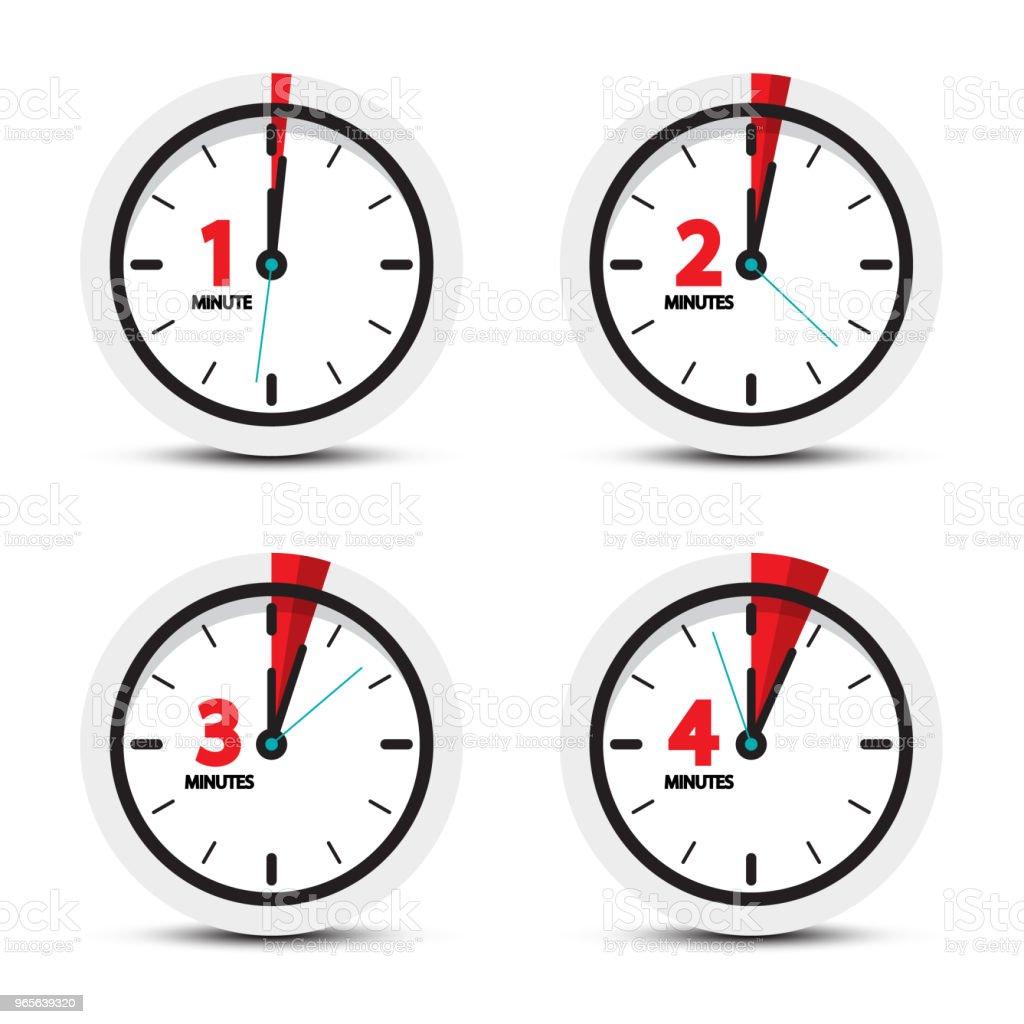 Clock Icons Set vector art illustration