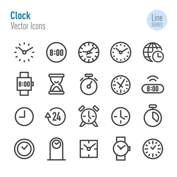 bildbanksillustrationer, clip art samt tecknat material och ikoner med klockan ikoner - vektor line serien - tidszon