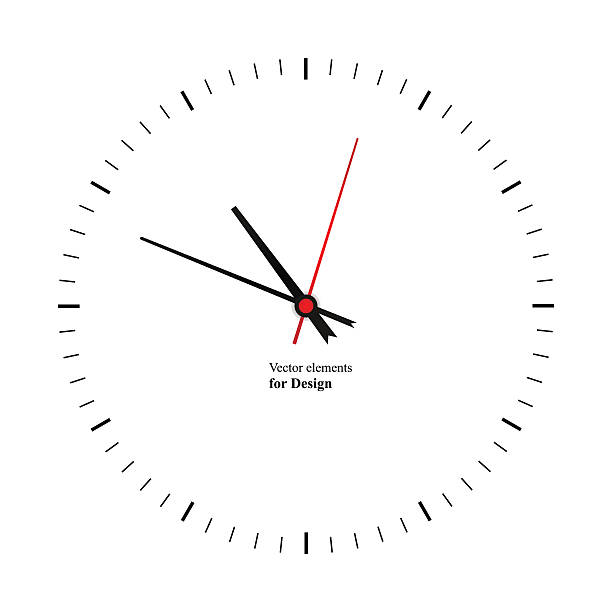 Clock image on white background vector art illustration