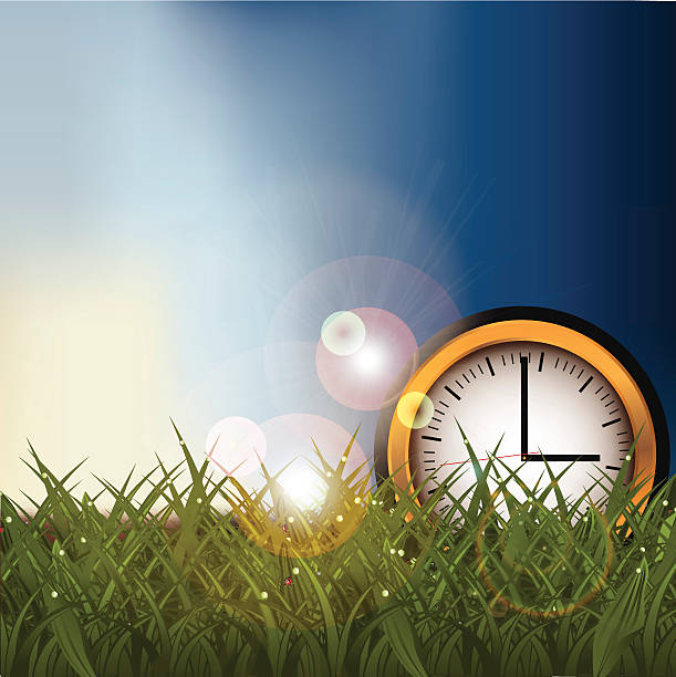 clock in a grassy field background with copy space - daylight savings time stock illustrations, clip art, cartoons, & icons