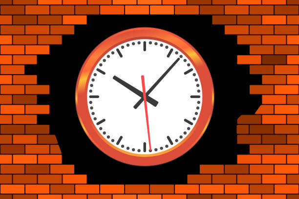 Clock in broken wall vector art illustration