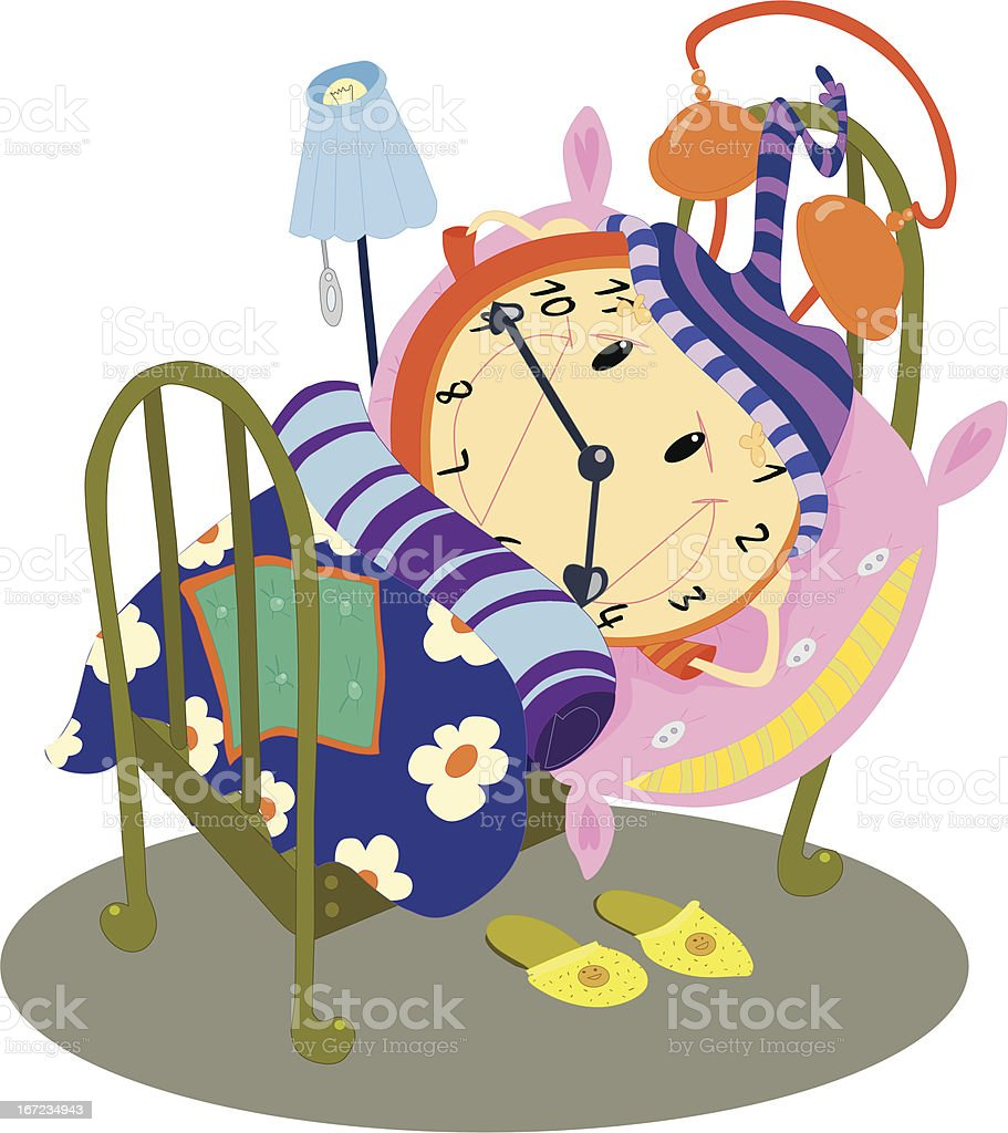 Clock in the bed royalty-free stock vector art