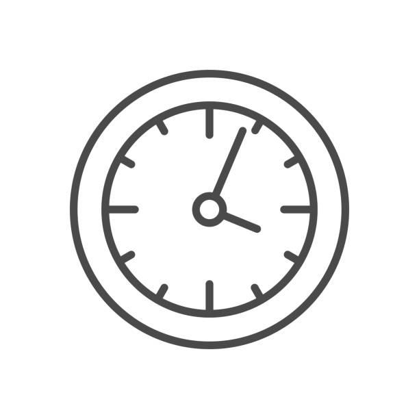 ilustraciones, imágenes clip art, dibujos animados e iconos de stock de icono de la línea de reloj - wall clock