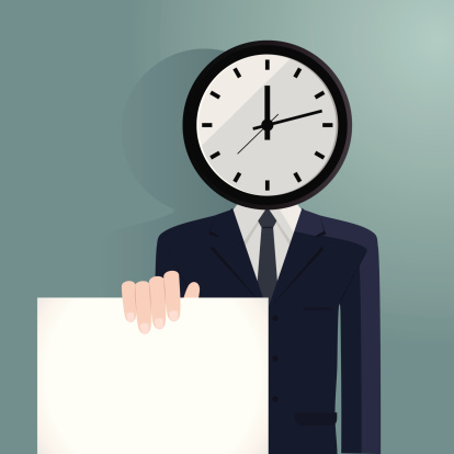 Clock Man Showing The Deadline Stock Illustration - Download Image Now