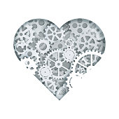 Clock mechanism heart, vector illustration in paper art style