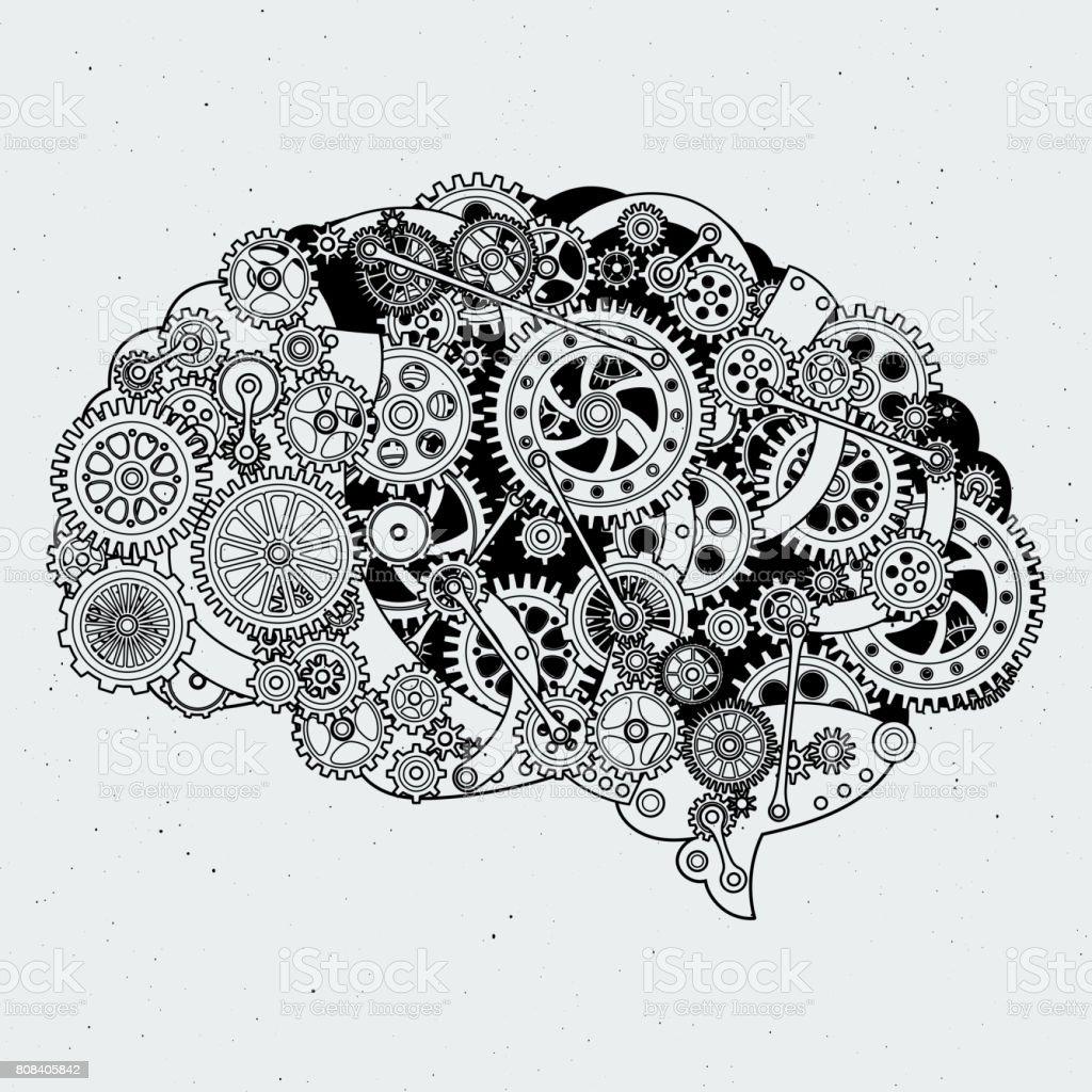 Clock mechanism in human brain. Different cogwheels of steel. Vector hand drawn illustrations vector art illustration